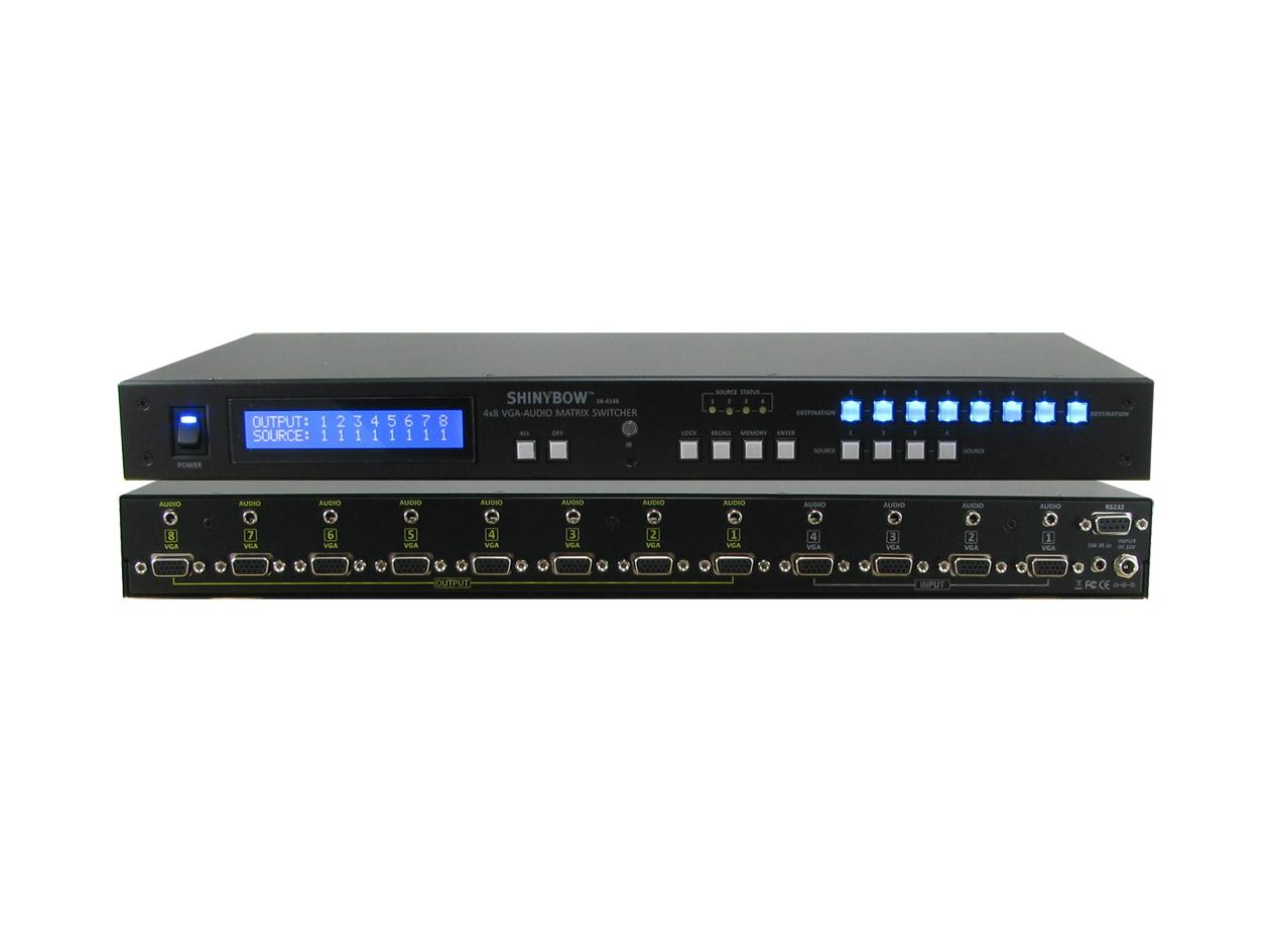 SB-4148LCM 4x8 VGA Matrix Routing Switcher w Stereo Audio by Shinybow