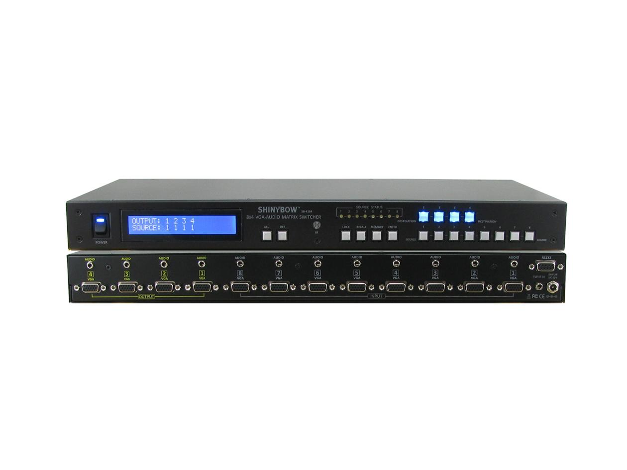 SB-4184LCM 8x4 VGA Matrix Routing Switcher w Stereo Audio by Shinybow