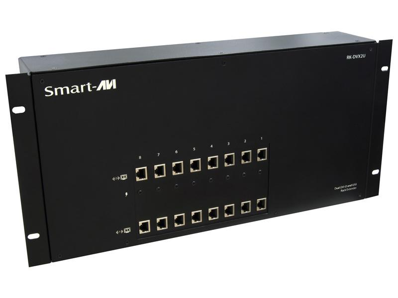 RK-DVX2U-A-RX4S Powered Rack/Chassis with Dual DVI-D/Audio/USB 1.1/CAT6 STP Extender (Receiver)/4 Card Package by Smartavi