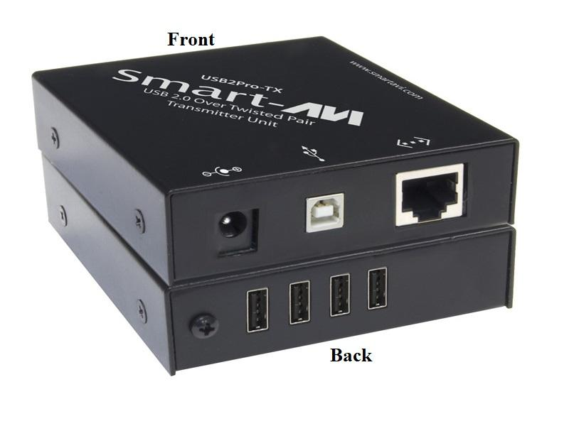USB-2PTXS 4 Port USB 2.0 over CAT5 Extender (Transmitter) (Plug-and-Play up to up to 325ft) by Smartavi