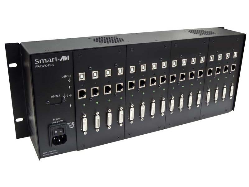 RK-DVX-PLUS-TX4S 4-Port DVI-D/USB Transmitter RACK for RK-DVX-PLUS (275ft / 2xCAT6 STP cables) by Smartavi