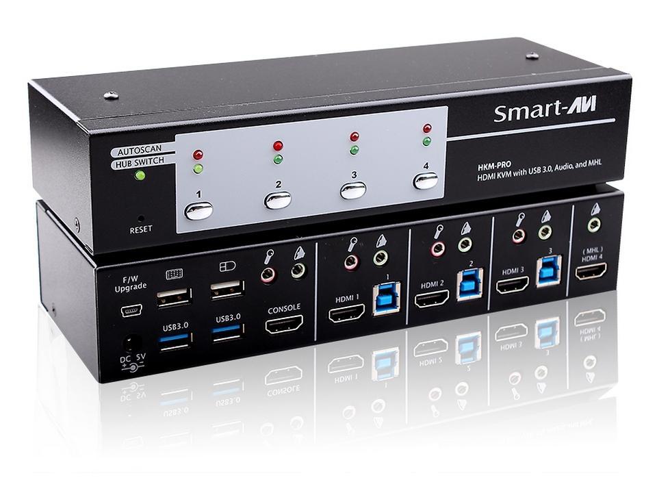 HKM-PROS 3-Port HDMI/Stereo Audio/USB 3.0/MHL Switcher by Smartavi