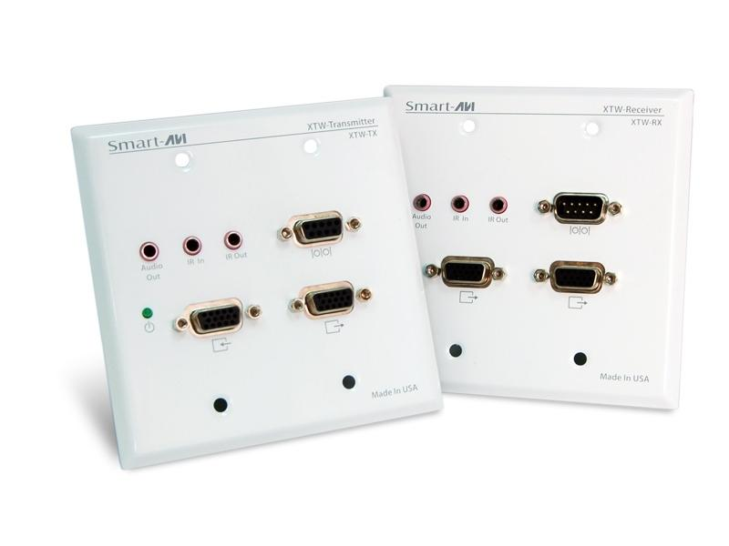 XTWALLS VGA and Audio RS232/IR Wall Plate CAT5 Extender (Transmitter/Receiver) Kit 1080p/1920x1200/ 350ft by Smartavi