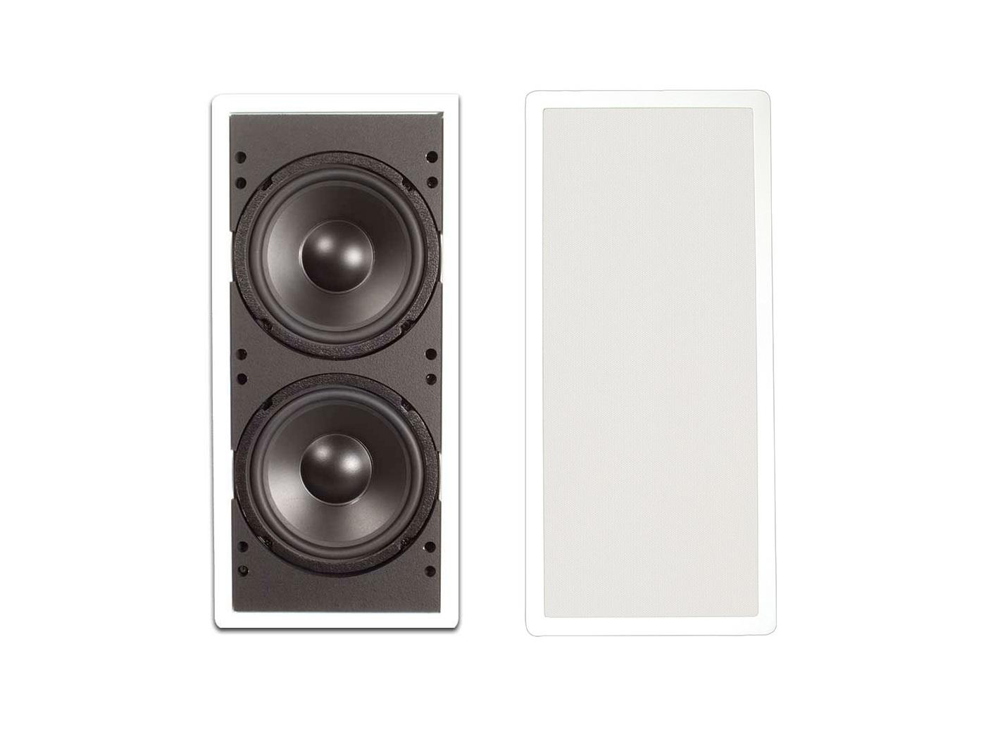 IW200-A KIT Dual 8-in In-Wall Subwoofer with Sealed Enclosure/Amplifier by Soliddrive