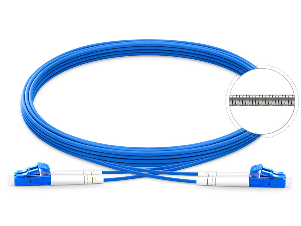 S2D-ARM-LCLC-20 20m Duplex Single Mode OS2 3.0mm Armored Fiber Cable with LC to LC connectors by TechLogix Networx