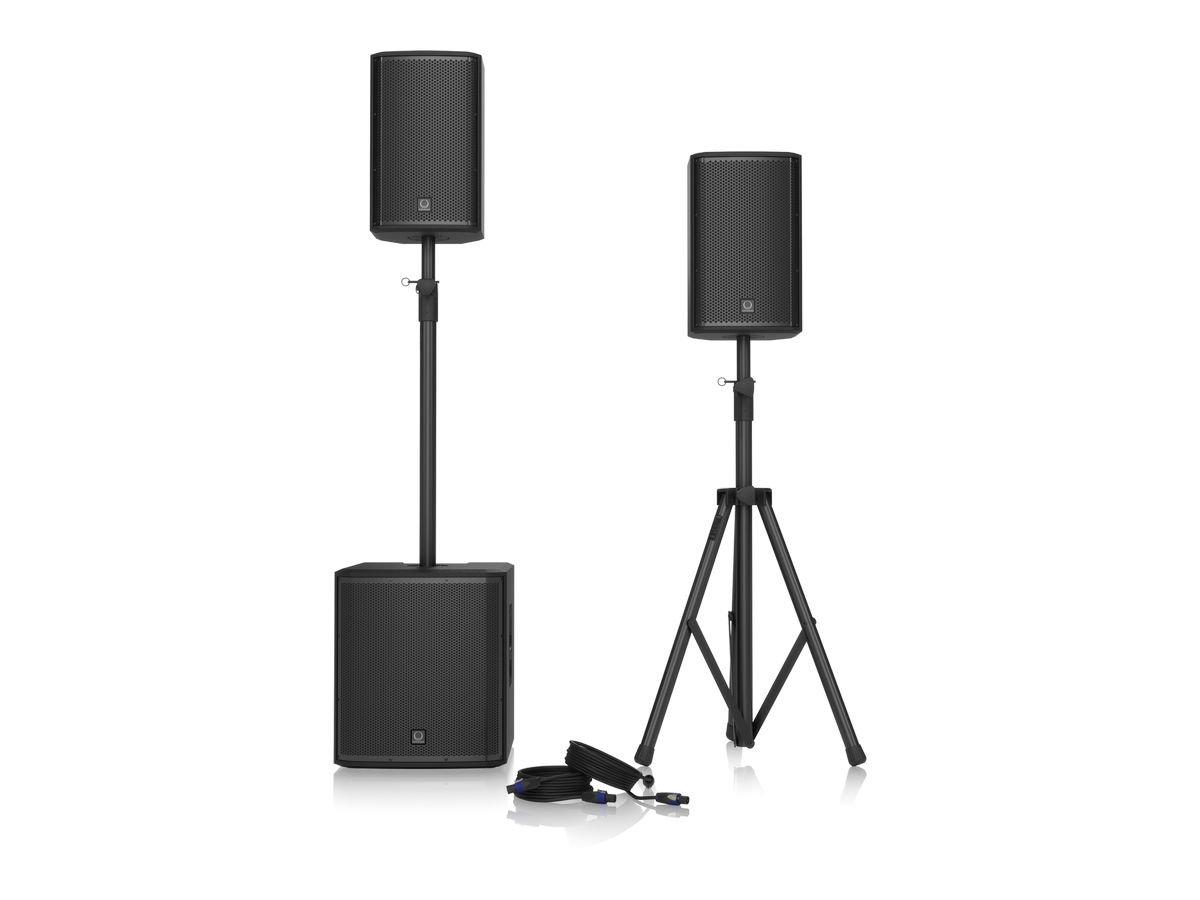 iP12 BUNDLE 1000W Powered PA Bundle with iP12B Subwoofer/2 x iP82 Loudspeakers/Speaker Stands and Cables by Turbosound