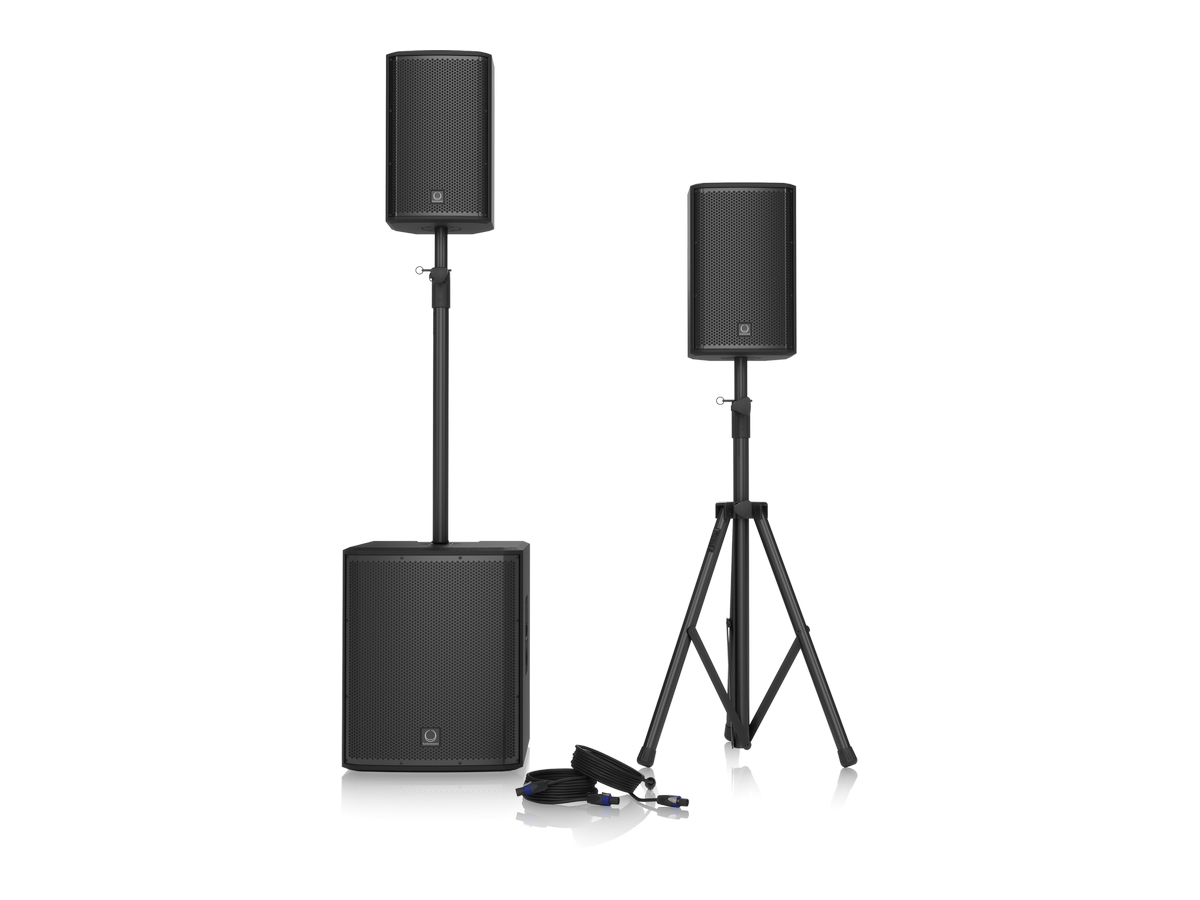iP15 BUNDLE 1000W Powered PA Bundle with iP15B Subwoofer/2 x iP82 Loudspeakers/Speaker Stands and Cables by Turbosound