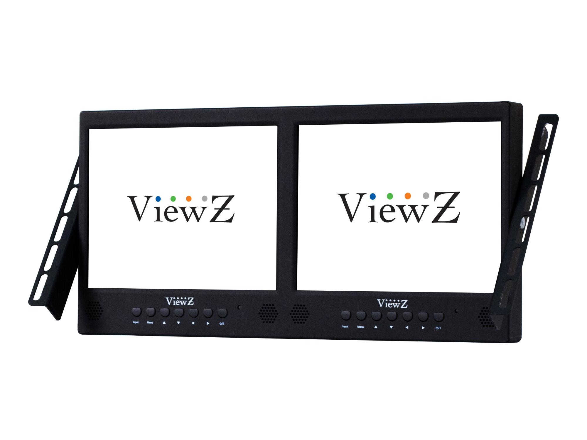 VZ-097RCR-D Rack Mount Dual 9.7 inch commercial-grade LED CCTV monitor for professional security by ViewZ