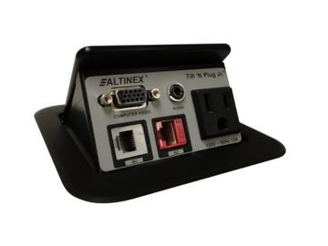TNP121S Tilt N Plug Jr Tabletop Box VGA/3.5mm/CAT6/RJ-11 Silver by Altinex