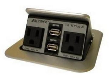 TNP155s Tilt n Plug Jr Tabletop Box w 2x2 Charging USB/Power/Silver by Altinex