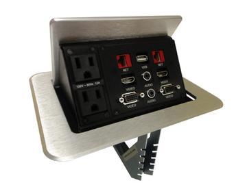 TNP528S TILT N PLUG Tabletop Box US Power/HDMI/VGA/USB/3.5 mm/Silver by Altinex