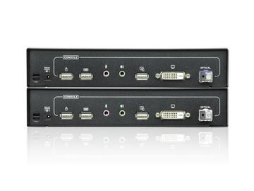 CE690 DVI Single Link Optical KVM Extender (Transmitter/Receiver) Kit with audio up to 12 miles by Aten