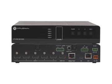 AT-UHD-SW-52ED-B 4K/UHD 5 Input HDMI Switcher with Mirrored HDMI and HDBaseT Outputs and PoE by Atlona