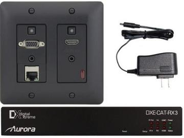 DXW-2E-S3C-B HDBaseT HDMI/VGA/LAN WP Extender Kit with IP Black by Aurora Multimedia