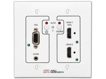 UHBX-SW3-WP VGA/HDMI/MHL Auto-Switch Wall-Plate Extender (Switcher/Sender) with HDBaseT by Hall Research