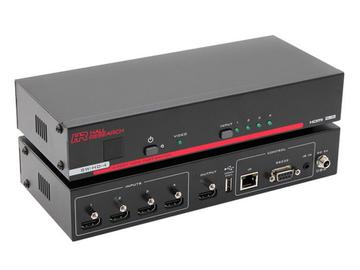 SW-HD-4 4-Port Fast HDMI Switch Box with Remote/IP/RS-232/IR Control by Hall Research