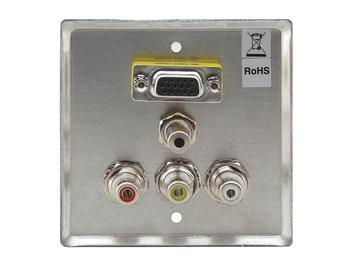 WAV-5(G) 15-Pin HD F/ 3.5mm F and 3 RCA F Pass Through Wall Plate/Gray by Kramer