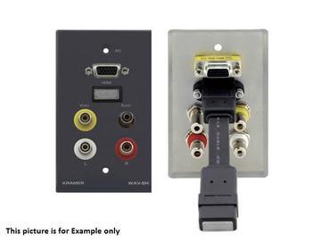 WAV-6H(B) HDMI/15-pin HD/3.5mm Stereo Audio/3 RCA Wall Plate/Black by Kramer